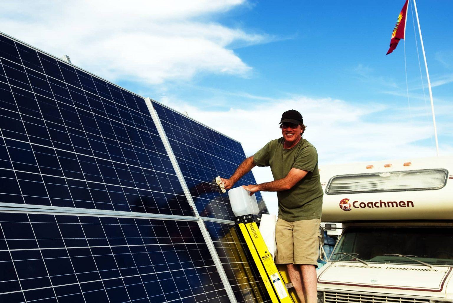 Sweeping a wet cloth is enough to clean solar panels.