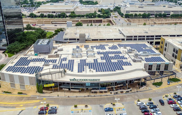 A photovoltaic system delivers 256 kW of power at Whole Foods Market in October 2013 by Freedom Solar Power.
