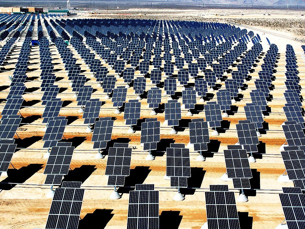 The Nellis Solar Power Plant, located at Nellis Air Force Base, Nevada, generates 14 megawatts of power. It has 70000 solar panels spread across 140 acres of land.