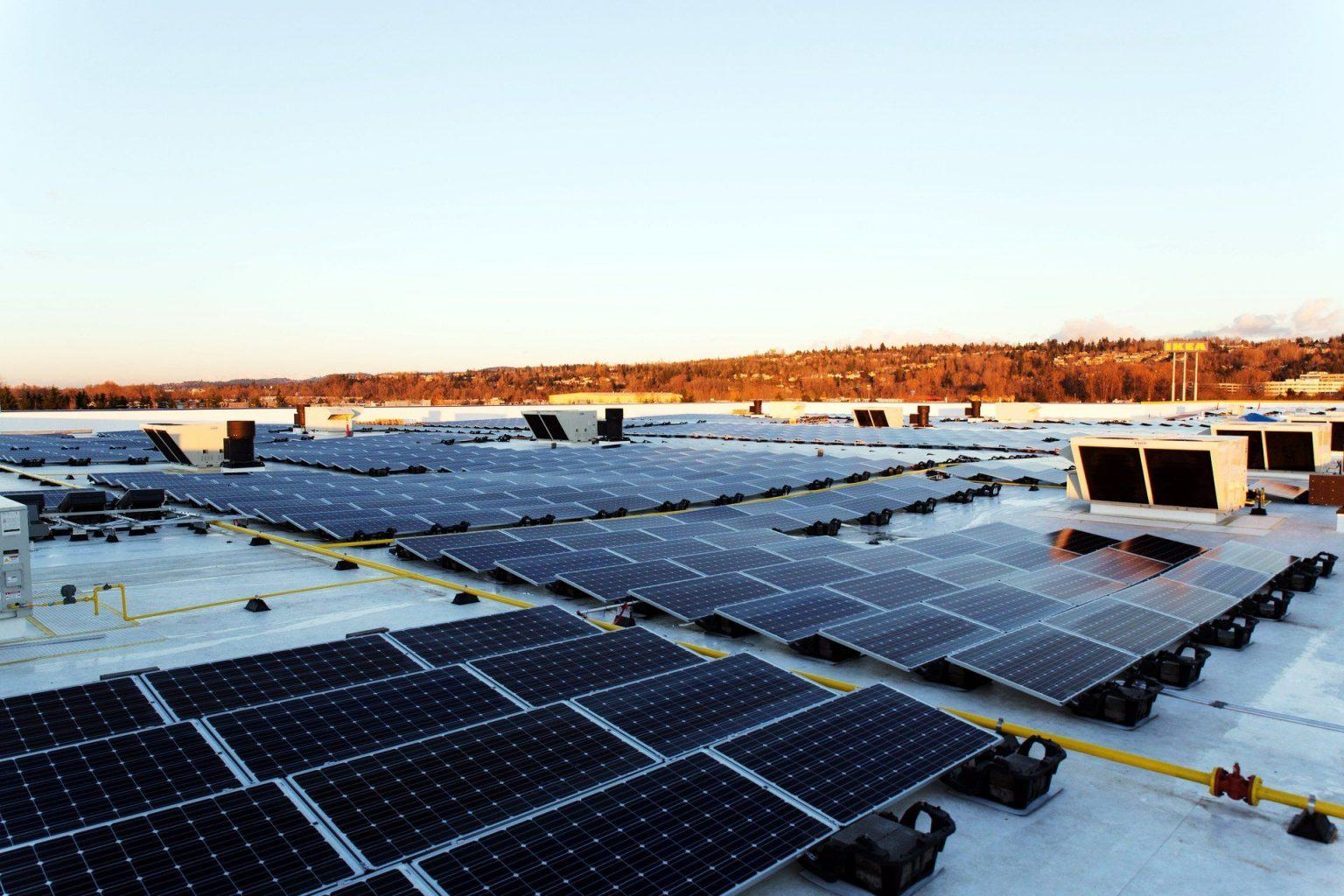 A photovoltaic system on the top of an IKEA store in Renton, Washington, delivering 1.2 MW