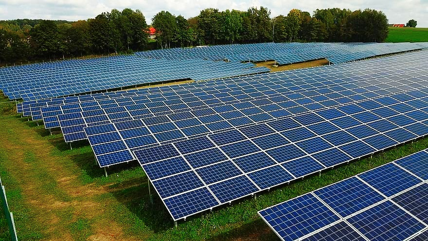 Solar arrays cover the entire ground.