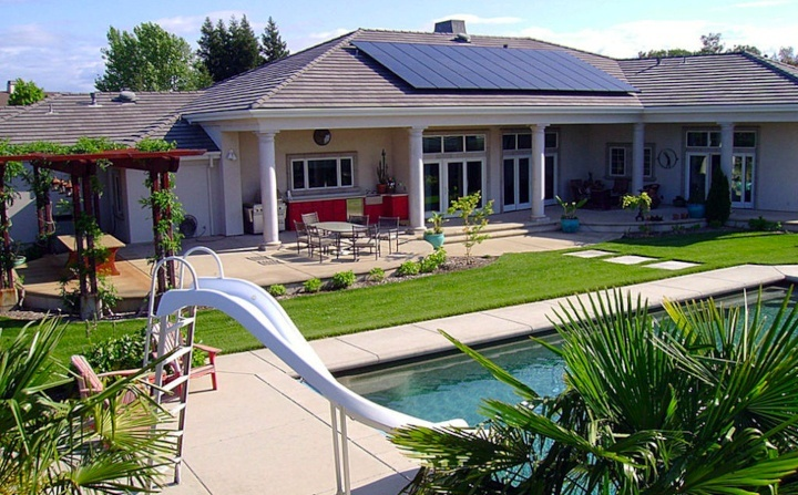 Solar panels fixed on the roof of a house in Thousand Oaks, California