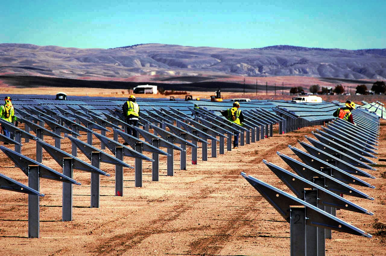 Ground-mountings of steel that will support solar modules. The photo was captured on October 12, 2012.