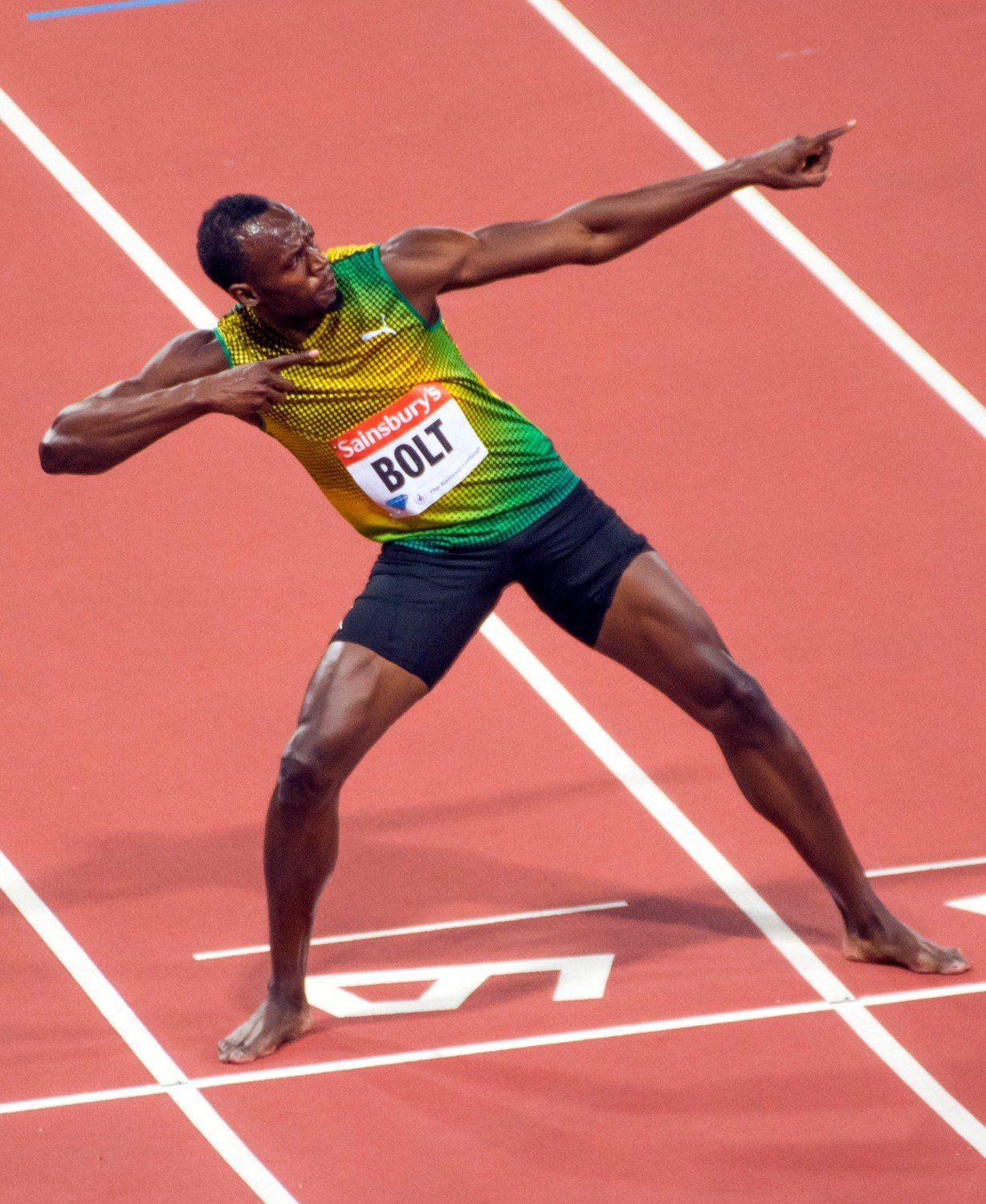 Usain Bolt celebrating the winning at London Anniversary Games in 2013